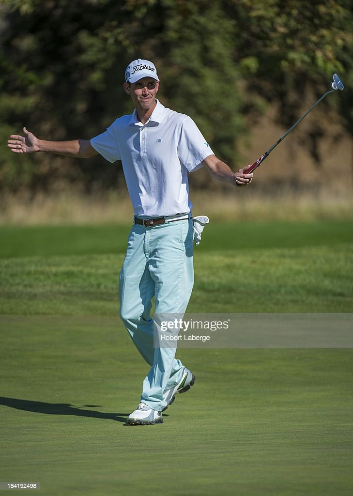 Chesson Hadley celebrates a birdie on the eight hole during round two of the Frys.com Open at the CordeValle Golf Club on October 11, 2013 in San Martin, California.