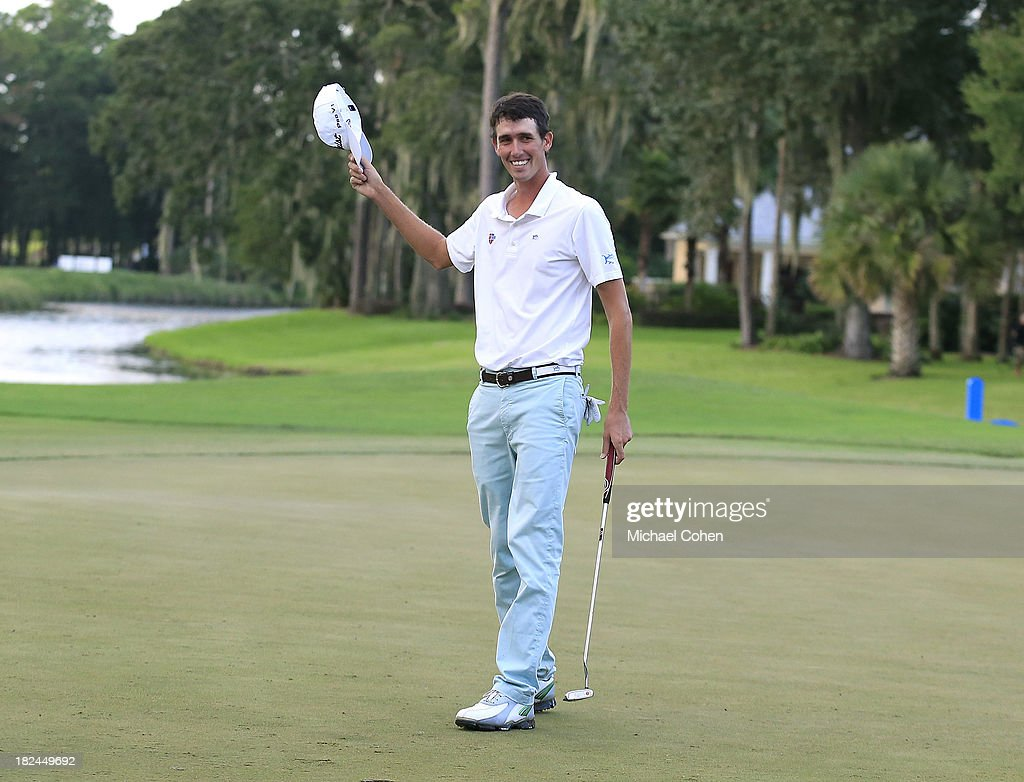 Chesson Hadley celebrates on the 18th green as he wins the Web.com Tour Championship held on the Dye's Valley Course at TPC Sawgrass on September 29, 2013 in Ponte Vedra Beach, Florida.