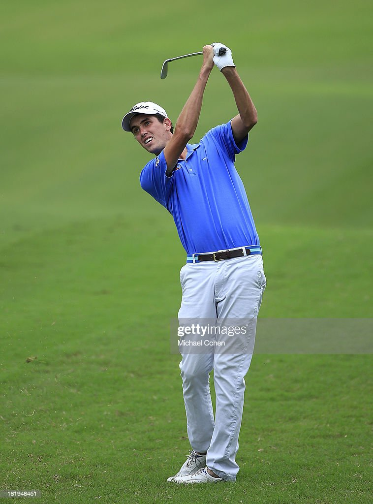 Chesson Hadley hits a shot from the fairway during the first round of the Web.com Tour Championship held on the Dye's Valley Course at TPC Sawgrass on September 26, 2013 in Ponte Vedra Beach, Florida.