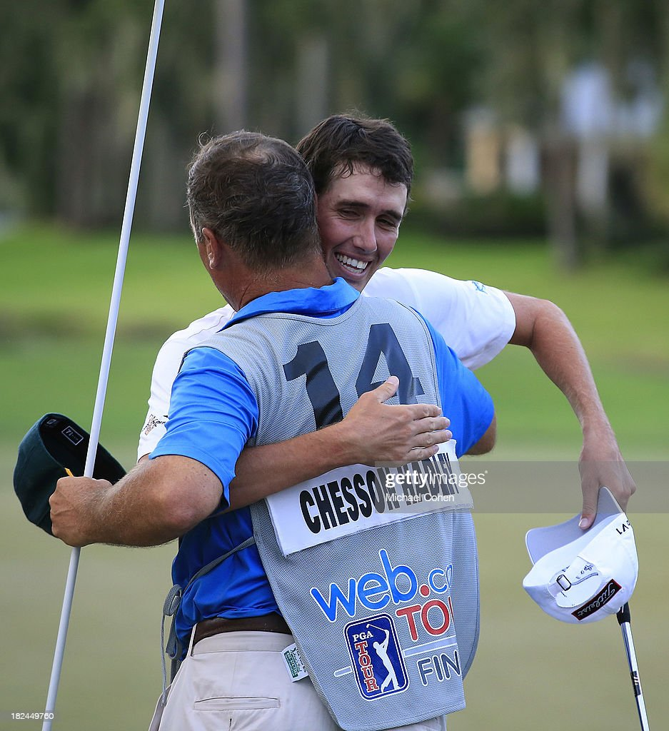 Chesson Hadley hugs his caddie on the 18th green as he wins the Web.com Tour Championship held on the Dye's Valley Course at TPC Sawgrass on September 29, 2013 in Ponte Vedra Beach, Florida.