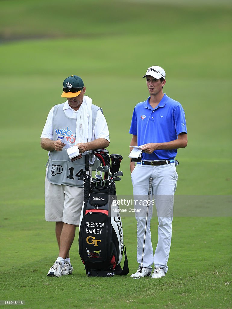 Chesson Hadley prepares to hit a shot during the first round of the Web.com Tour Championship held on the Dye's Valley Course at TPC Sawgrass on September 26, 2013 in Ponte Vedra Beach, Florida.