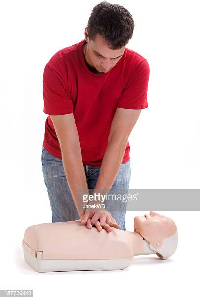Chest compressions performed on cpr dummy.