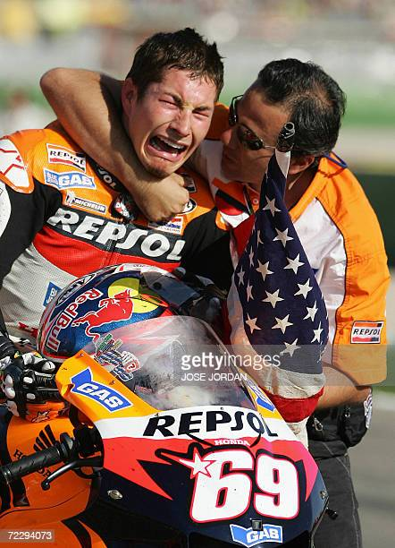 US Nicky Hayden bursts into tears after winning the 2006 Moto GP championship at the end of season Valencia Grand Prix at the Ricardo Tormo racetrack...