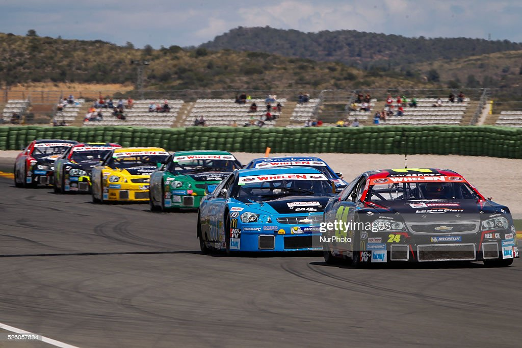 Cheste Valencia Spain April 26 2015 Race cars in the Nascar Whelen euroseries held at Ricardo Tormo Circuit