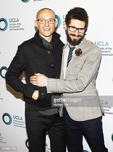 Chester Bennington and Brad Delson of Linkin Park arrive at An Evening of Environmental Excellence presented by the UCLA Institute of The Environment...