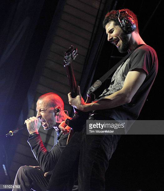 Chester Bennington and Brad Delson of Linkin Park perform as part of the Honda Civic Tour at Comfort Dental Amphitheatre on August 30 2012 in...