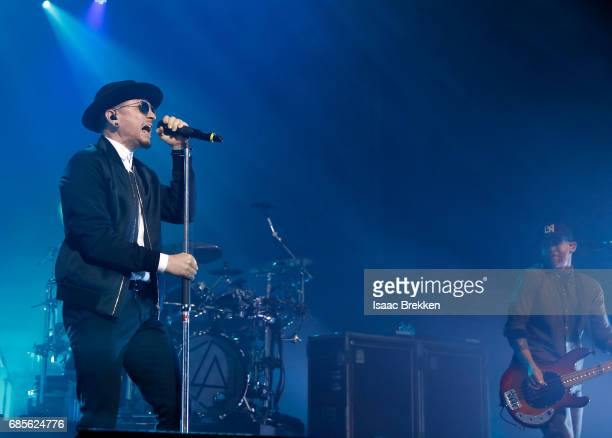 Chester Bennington and Dave Farrell of Linkin Park perform during CBS RADIO's twonight 'SPF' concert at The Chelsea inside The Cosmopolitan of Las...