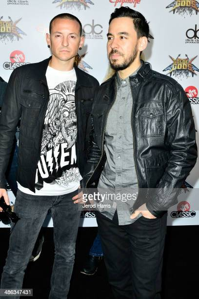 Chester Bennington and Mike Shinoda of Linkin Park arrive at the 2014 Revolver Golden Gods Awards at Club Nokia on April 23 2014 in Los Angeles...