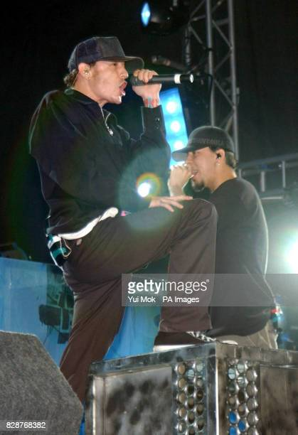 Chester Bennington and Mike Shinoda of Linkin Park performing on the Main Stage at the Carling Reading Festival in Reading