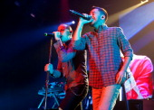 Chester Bennington and Mike Shinoda of Linkin Park performs during the Honda Civic Tour at The Palace of Auburn Hills on August 21 2012 in Auburn...