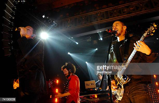Chester Bennington Brad Delson and Mike Shinoda of Linkin Park perform onstage at Webster Hall on May 11 2007 in New York City