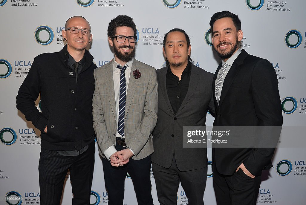 <a gi-track='captionPersonalityLinkClicked' href=/galleries/search?phrase=Chester+Bennington&family=editorial&specificpeople=213970 ng-click='$event.stopPropagation()'>Chester Bennington</a>, <a gi-track='captionPersonalityLinkClicked' href=/galleries/search?phrase=Brad+Delson&family=editorial&specificpeople=828273 ng-click='$event.stopPropagation()'>Brad Delson</a>, <a gi-track='captionPersonalityLinkClicked' href=/galleries/search?phrase=Joe+Hahn&family=editorial&specificpeople=630187 ng-click='$event.stopPropagation()'>Joe Hahn</a> and Mike Shinoda of Linkin Park attend An Evening of Environmental Excellence presented by the UCLA Institute of the Environment and Sustainability on March 21, 2014 in Beverly Hills, California.