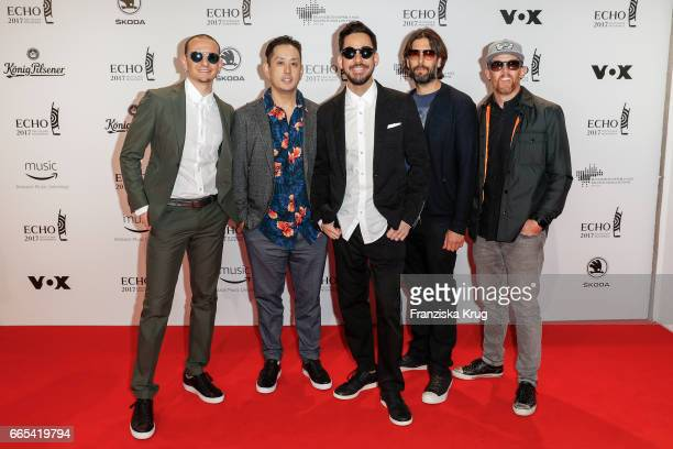 Chester Bennington Joe Hahn Mike Shinoda Rob Bourdon and Dave Farrell members of the band Linkin Park attend the Echo award red carpet on April 6...