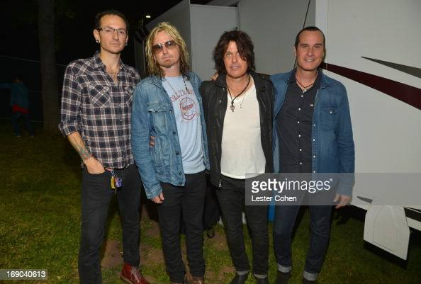 Chester Bennington of Linkin Park and Eric Kretz Dean DeLeo and Robert DeLeo of the Stone Temple Pilots backstage at KROQ Weenie Roast Y Fiesta at...