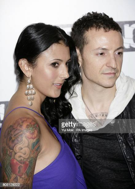 Chester Bennington of Linkin Park and wife Talinda Bentley arriving at the Kerrang Awards at the Brewery London