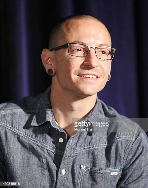 Chester Bennington of Linkin Park attends the hand induction ceremony into Guitar Center's RockWalk on June 18 2014 in Hollywood California