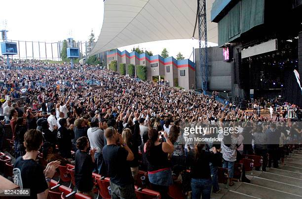 Chester Bennington of Linkin Park joins Chris Cornell as part of the Projekt Revolution Tour 2008 at Shoreline Amphitheatre on August 9 2008 in...