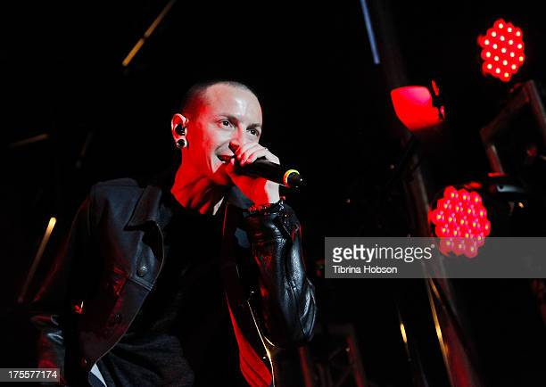 Chester Bennington of Linkin Park performs at the 6th annual Sunset Strip Music Festival on the Sunset Strip on August 3 2013 in West Hollywood...