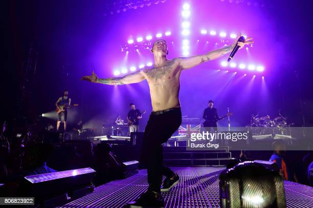 Chester Bennington of Linkin Park performs at The O2 Arena on July 3 2017 in London England