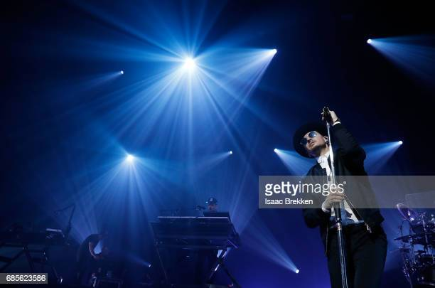 Chester Bennington of Linkin Park performs during CBS RADIO's twonight 'SPF' concert at The Chelsea inside The Cosmopolitan of Las Vegas on May 19...