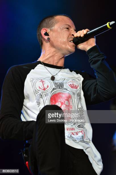 Chester Bennington of Linkin Park performs during day two of the 2014 Download Festival at Donington Park