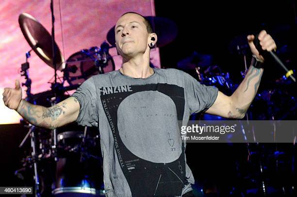 Chester Bennington of Linkin Park performs during Live 105's Not So Silent Night at Oracle Arena on December 12 2014 in Oakland California