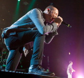 Chester Bennington of Linkin Park performs during the Honda Civic Tour at The Palace of Auburn Hills on August 21 2012 in Auburn Hills Michigan