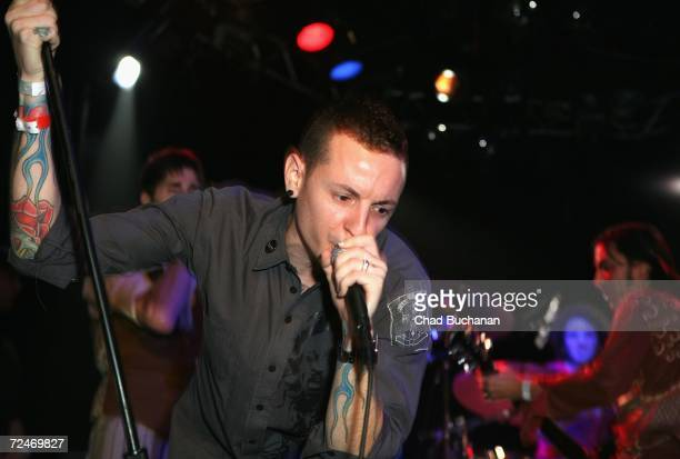 Chester Bennington of Linkin Park performs in the The Doors 40th Anniversary Celebration at the Whiskey A Go Go on November 8 2006 in West Hollywood...