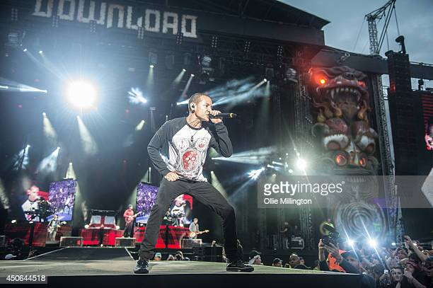 Chester Bennington of Linkin Park performs on Day 2 of the Download Festival at Donington Park on June 14 2014 in Castle Donington England