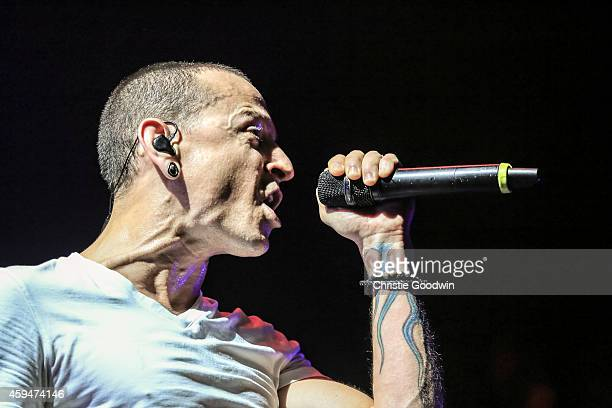 Chester Bennington of Linkin Park performs on stage at O2 Arena on November 23 2014 in London United Kingdom
