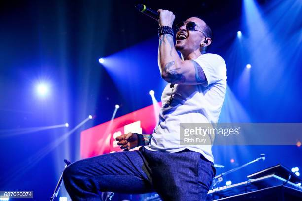 Chester Bennington of Linkin Park performs on stage at the iHeartRadio Album Release Party presented by State Farm at the iHeartRadio Theater Los...