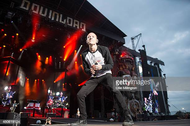 Chester Bennington of Linkin Park performs on stage headlining day 2 of Download Festival at Donnington Park on June 14 2014 in Donnington United...