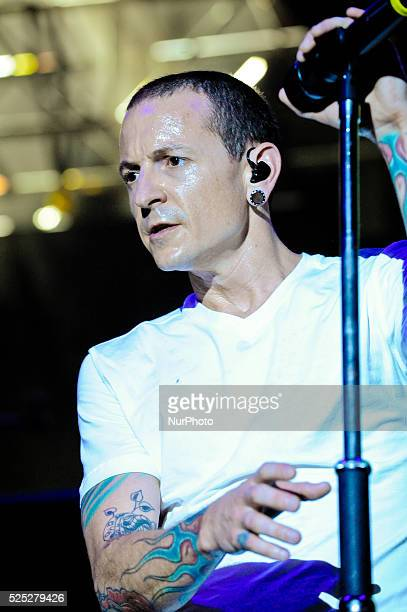 Chester Bennington of Linkin Park performs onstage during River City Rockfest at the ATampT Center on May 24 2015 in San Antonio Texas