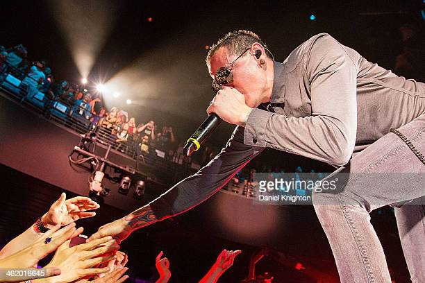 Chester Bennington of Linkin Park performs onstage during the Concert For The Philipines at Club Nokia on January 11 2014 in Los Angeles California