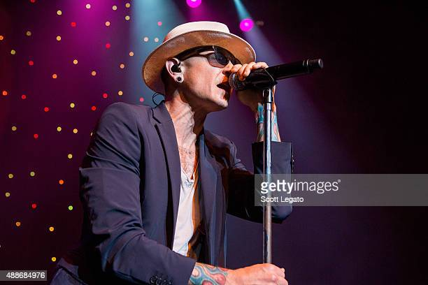 Chester Bennington of Stone Temple Pilots performs at The Fillmore Detroit on September 16 2015 in Detroit Michigan