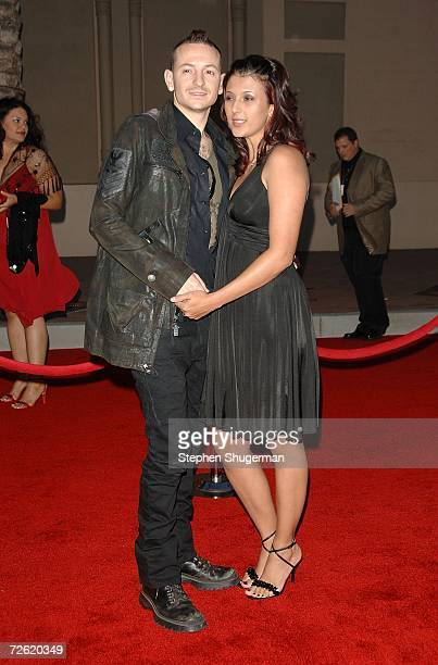 Chester Bennington of the band Linkin Park and wife Talinda arrive at the 2006 American Music Awards held at the Shrine Auditorium on November 21...