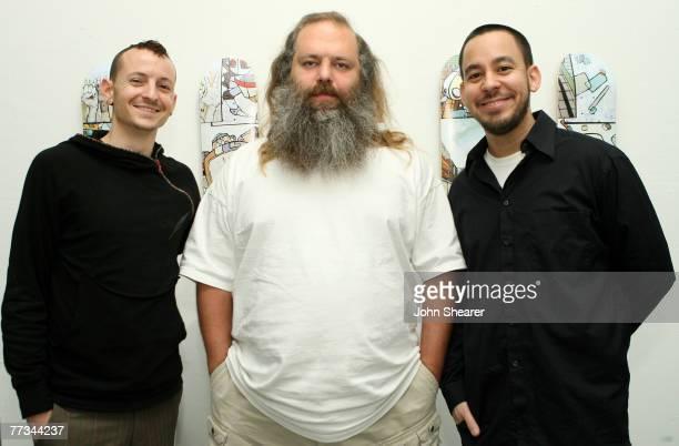 Chester Bennington Rick Rubin and Mike Shinoda of Linkin Park