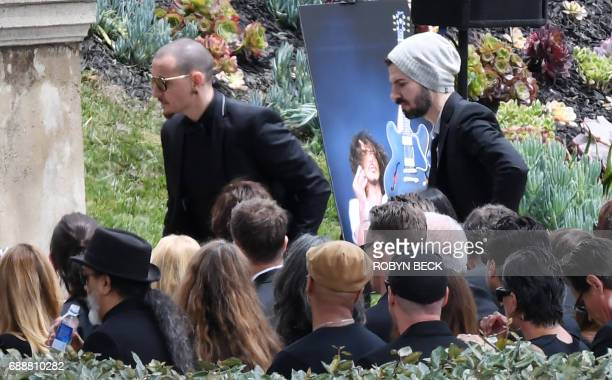 Chester Bennington walks to the podium to sing during the memorial service for Soundgarden frontman Chris Cornell May 26 2017 at Hollywood Forever...