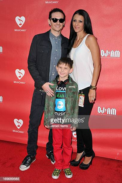 Chester Bennington wife Talinda Bennington and son Tyler Lee Bennington arrive at the 9th Annual MusiCares MAP Fund Benefit Concert at Club Nokia on...