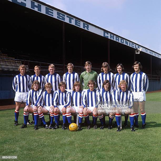 Chester City FC back row left to right Bob Wallace Derek Draper Dave Pountney unidentified John Taylor unidentified John Relish Mick Hollis Front row...