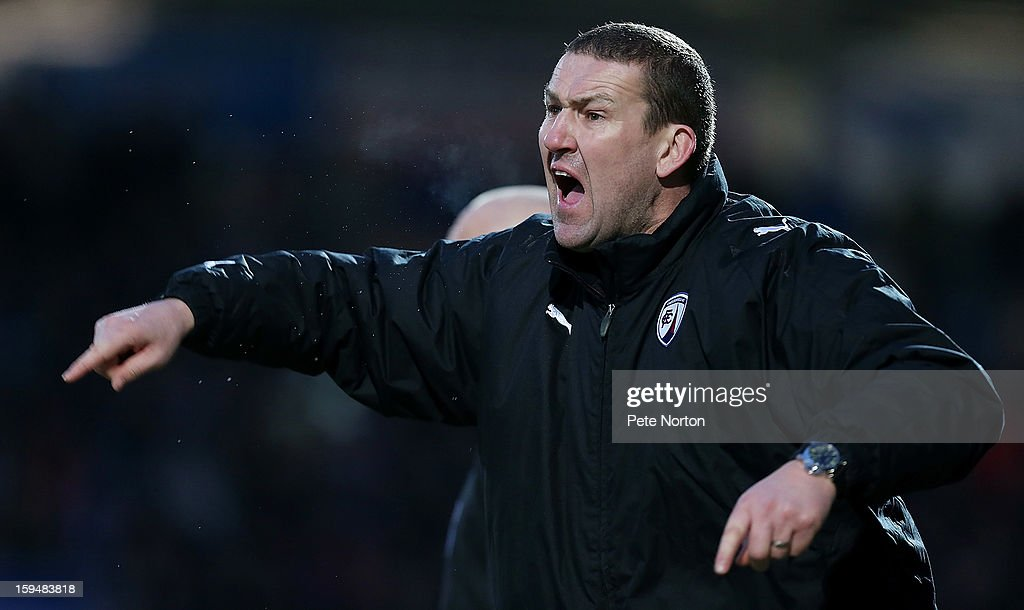 Chesterfield coach Mark Crossley gives instructions during the npower League Two match between Chesterfield and Northampton Town at the Proact Srtadium on January 12, 2013 in Chesterfield, England.