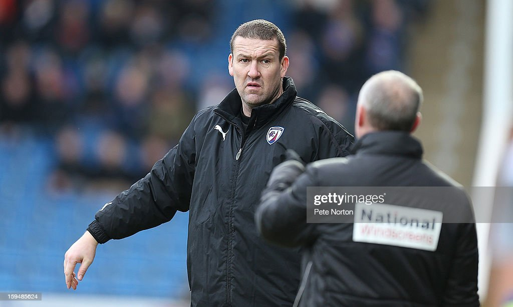 Chesterfield coach <a gi-track='captionPersonalityLinkClicked' href=/galleries/search?phrase=Mark+Crossley&family=editorial&specificpeople=247749 ng-click='$event.stopPropagation()'>Mark Crossley</a> looks on during the npower League Two match between Chesterfield and Northampton Town at the Proact Srtadium on January 12, 2013 in Chesterfield, England.