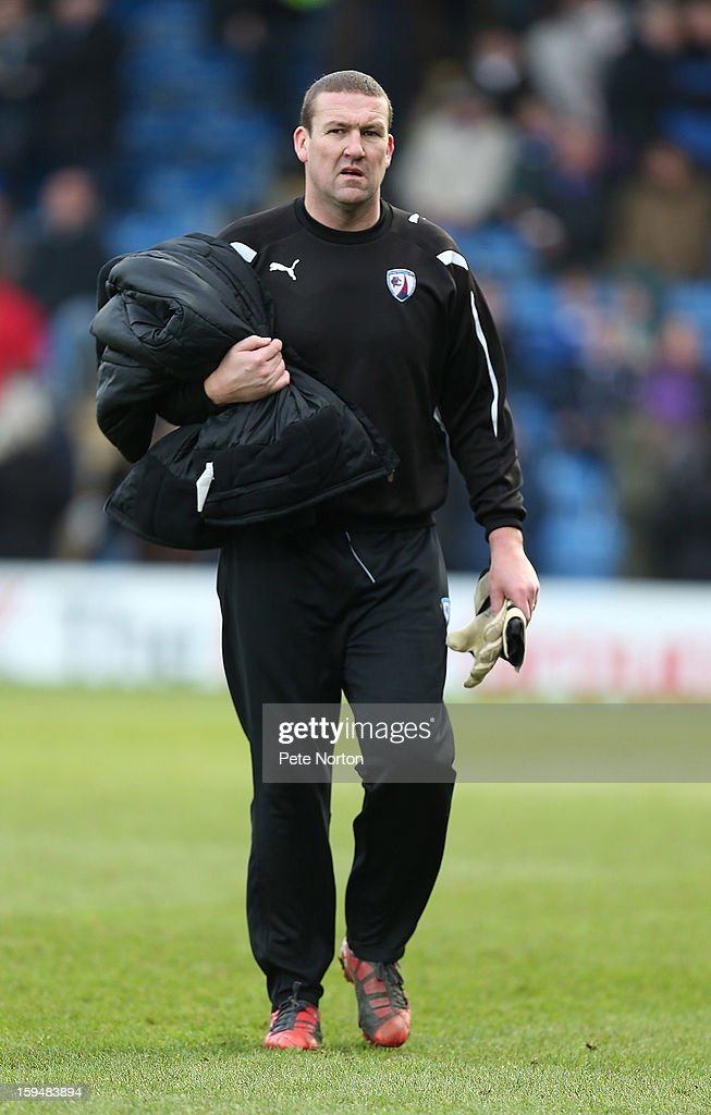 Chesterfield coach Mark Crossley looks on prior to the npower League Two match between Chesterfield and Northampton Town at the Proact Srtadium on January 12, 2013 in Chesterfield, England.