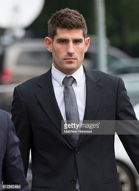 Chesterfield FC football player Ched Evans arrives at Cardiff Crown Court with partner Natasha Massey to stand trial for rape on October 4 2016 in...
