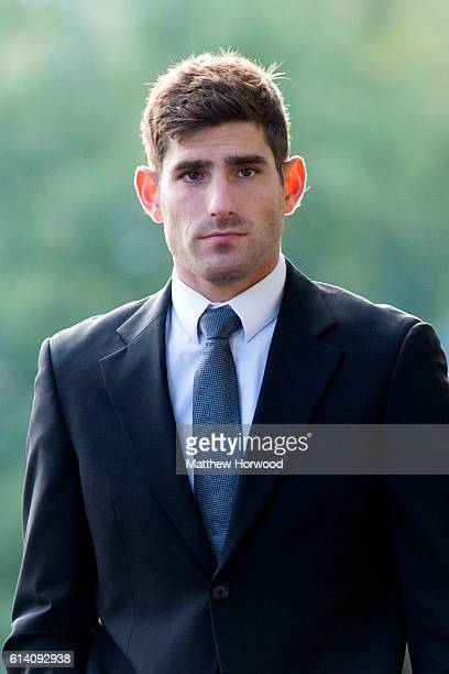 Chesterfield FC football player Ched Evans arrives at Cardiff Crown Court where he is standing trial for rape on October 12 2016 in Cardiff Wales The...
