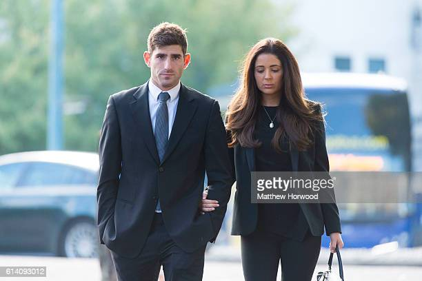 Chesterfield FC football player Ched Evans arrives at Cardiff Crown Court with his girlfriend Natasha Massey where he is standing trial for rape on...