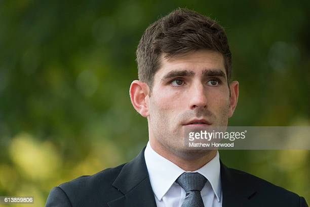 Chesterfield FC football player Ched Evans arrives for retrial on rape charges at Cardiff Crown Court on October 11 2016 in Cardiff Wales The former...