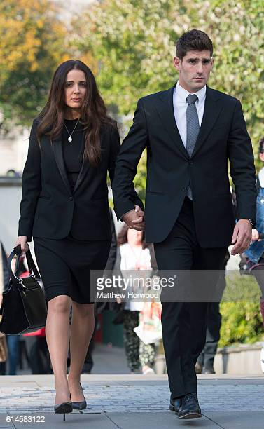 Chesterfield FC football player Ched Evans leaves Cardiff Crown Court with partner Natasha Massey court after being found not guilty of rape on...