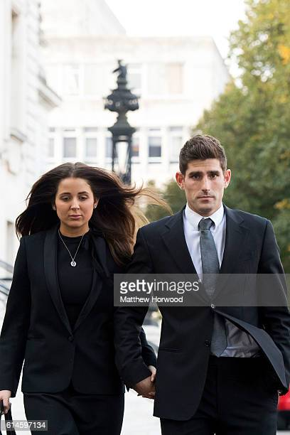 Chesterfield FC football player Ched Evans leaves Cardiff Crown Court with partner Natasha Massey after being found not guilty of rape on October 14...