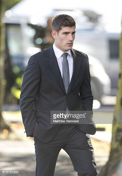 Chesterfield FC football player Ched Evans returns to Cardiff Crown Court following a break in his retrial for rape on October 10 2016 in Cardiff...